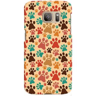 Oyehoye Animal Paw Print Pattern Style Printed Designer Back Cover For Samsung Galaxy S7 Edge Mobile Phone - Matte Finish Hard Plastic Slim Case