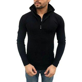Mens Flap Collar Neck Black Double Zip Collar T-Shirt