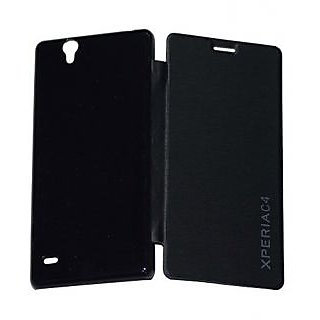 RealDealz Durable PU Leather Flip Cover For Sony Xperia C4 (Black)+AUX CABLE COMBO SET