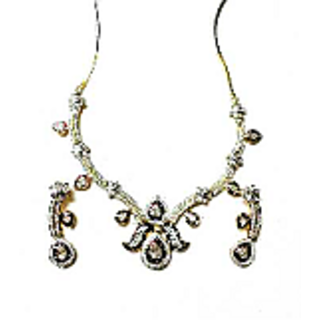 Onex Creations Gold plated american diamond stone with mahroon colour Necklace set and matching Earrings
