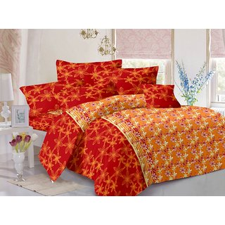 Valtellina Orange  Floral Design 100 Organic Double Bedsheet with 2 CONTRAST Pillow Cover-Best TC-175