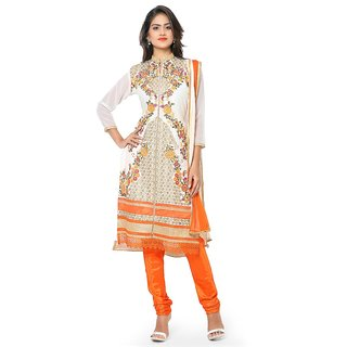 Thankar White  Multi Embroidered Georgette Straight Suit (Unstitched)