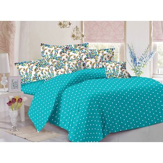 Valtellina Blue  Polka Design Super Soft Feeling Double Bedsheet with 2 CONTRAST Pillow Cover-Best TC-175