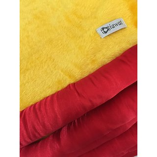 Yellow Red Velvet Cushion Square