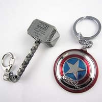 EzziDeals Keychain Marvel Combo Thor Silver and Captain America Shield