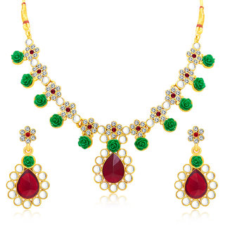 Sukkhi Modish Flower Gold Plated AD Necklace Set For Women