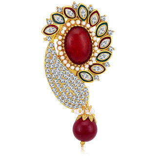 Sukkhi Glamorous Gold Plated AD Brooch For Women