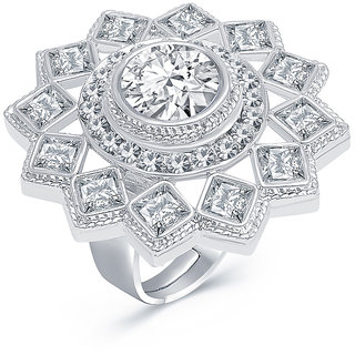 Sukkhi Exquisite Rhodium Plated AD Ladies Ring For Women