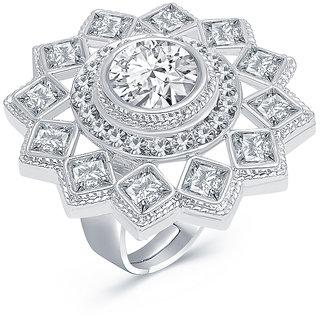 Sukkhi Exquisite Rhodium Plated AD Ladies Ring For Women