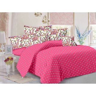 Valtellina Pink  Polka Design Skin Friendly Double Bedsheet with 2 CONTRAST Pillow Cover-Best TC-175