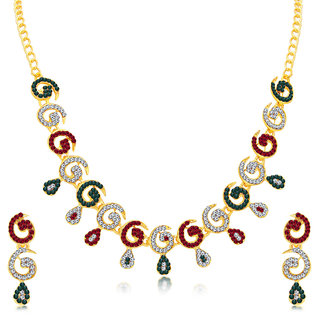 Sukkhi Pleasing Gold Plated AD Necklace Set For Women