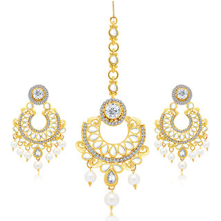 Sukkhi Blossomy Gold Plated AD Earring With Mangtikka Set For Women