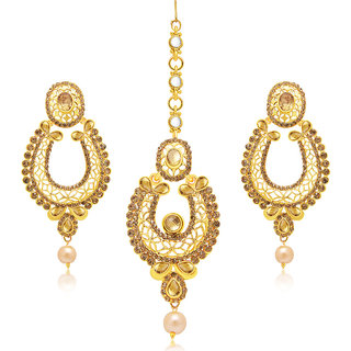 Sukkhi Wavy Gold Plated AD Earring With Mangtikka Set For Women