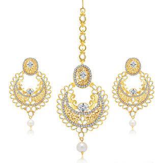 Sukkhi Royal Gold Plated AD Earring With Mangtikka Set For Women