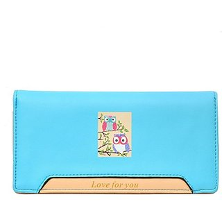 Hawai Women Blue Artificial Leather Wallet (12 Card Slots)