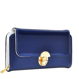 Hawai Women Blue Artificial Leather Wallet (10 Card Slots)