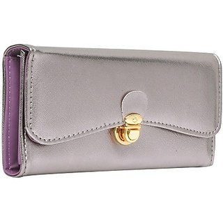 Hawai Women Silver And Purple Artificial Leather Wallet (8 Card Slots)