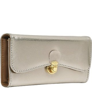 Hawai Women Silver And Brown Artificial Leather Wallet (8 Card Slots)