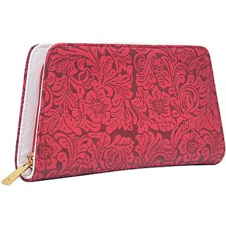 Hawai Women Red Artificial Leather Wallet (1 Card Slot)