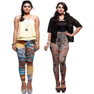 Keemaya Viscose Lycra Hd Digital Printed Legging(Pack of 2)