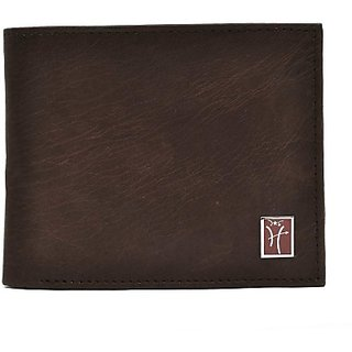 Hawai Men Casual And Formal Brown Genuine Leather Wallet (9 Card Slots)