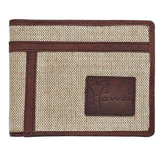 Hawai Men Casual And Formal Beige Canvas Wallet (6 Card Slots)