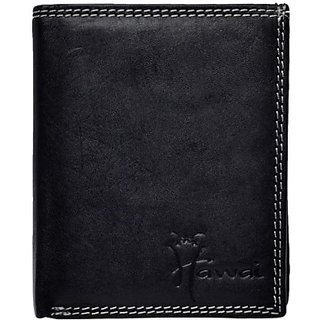 Hawai Men And Women Casual And Formal Black Genuine Leather Wallet (11 Card Slots)