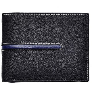 Hawai Men And Women Casual And Formal Black Genuine Leather Wallet (4 Card Slots)