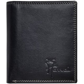 Hawai Men And Women Casual And Formal Black Genuine Leather Wallet (8 Card Slots)