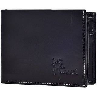 Hawai Men And Women Formal Black Genuine Leather Wallet (4 Card Slots)