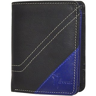 Hawai Men And Women Black And Blue Genuine Leather Wallet (7 Card Slots)