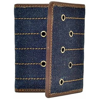 Hawai Men Casual And Formal Tan And Blue Genuine Leather Wallet (9 Card Slots)