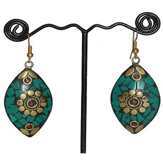 ALAR Ladies Handcrafted Brass Coral Eye Earring