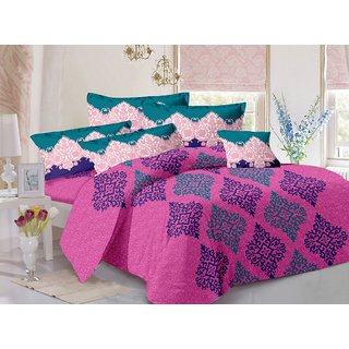 Valtellina Purple  Traditional Design Super Soft Feeling Double Bedsheet with 2 CONTRAST Pillow Cover-Best TC-175