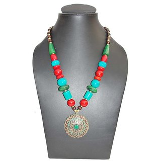 coral at azilaa earrings red flower full ethnic set pendant necklace