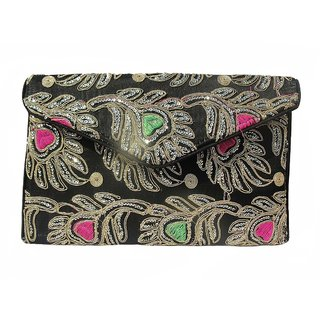 ALAR Ladies Handmade Ethnic Embroidery Black Handbag