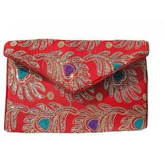 ALAR Ladies Handmade Ethnic Embroidery Red Handbag
