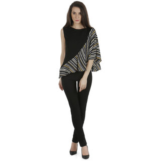 Black  print draped sleeve moss crepe top
