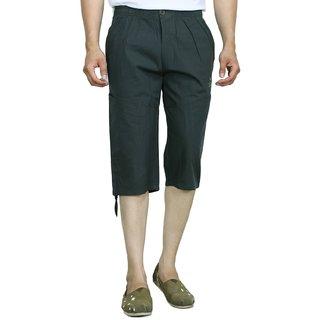 Studio Nexx Mens Solid Cotton Three Fourths (Dark Green, Size - L)