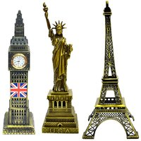 Jaycoknit Klassique Part II Big Ben,Statue Of Liberty,Eiffel Tower Iconic Metal Collectible Monument Showpieces-Set Of 3