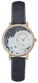 Mxre Black Leather Analog Watch For Women By KDS
