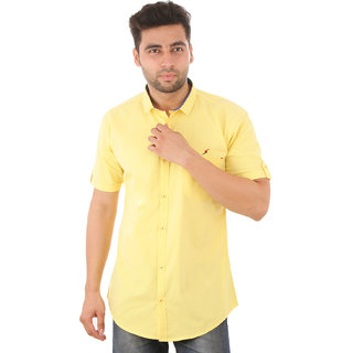 Studio Nexx Mens Yellow Cotton Casual Shirt