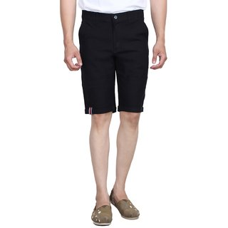 Studio Nexx Mens Cotton Linen Shorts (Black, Size - 30)