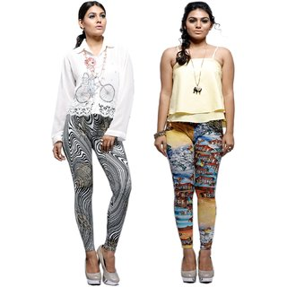 Keemaya Viscose Lycra Hd Digital Printed Legging(Pack of 2)