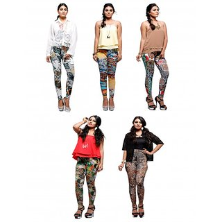 Keemaya Viscose Lycra Hd Digital Printed Legging(Pack of 5)