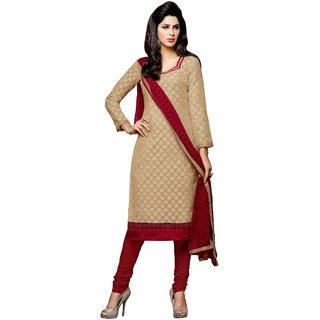 Khushali Presents Chanderi Chudidar Unstitched Dress Material(Chikoo,Red)