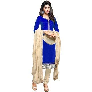 Khushali Presents Chanderi Chudidar Unstitched Dress Material(Blue,Cream)