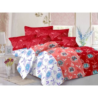 Valtellina Pink  Floral Design Super Soft Feeling Double Bedsheet with 2 CONTRAST Pillow Cover-Best TC-175