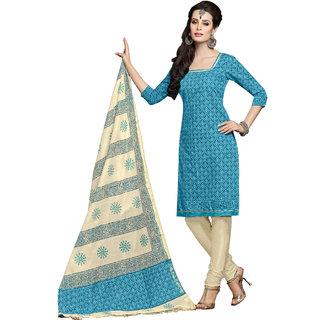 Khushali Presents Printed Chanderi Chudidar Unstitched Dress Material(Sky Blue,Cream)