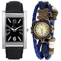 Jack Klein Combo Of Leather Strap Rectangular And Round Dial Elegant Analog Wrist Watches